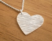 Woodgrain Heart Necklace textured large charm OOAK handmade pendant recycled .999 Fine Silver rustic edgy romantic love