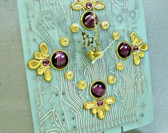 RECYCLED Aqua Blue CIRCUIT BOARD Clock Geek Techie Purple Glass Stones