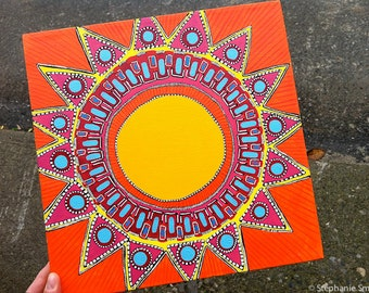 SALE Original Mandala Art: Sunshine Inspirational Meditative Reflective