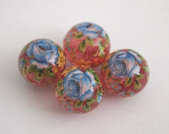 4 Clear pink glossy rose floral Japanese tensha acrylic beads