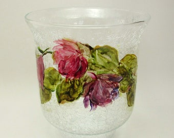 Hand Painted Glass Vase- Original Floral- Home Decor