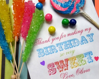 LARGE Personalized Candy Bags, Choose any Design in my Shop, Birthday Favor bags, Candy Buffet bags, Birthday party, Sweets, Treats