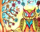 Owl Art Print, Storybook Art Tree, Birds, Folk Art, Whimsical Art Watercolor, 8 x 10. Red Blue