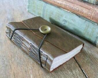Leather Journal - dark olive green . blank . handmade handbound (320pgs)