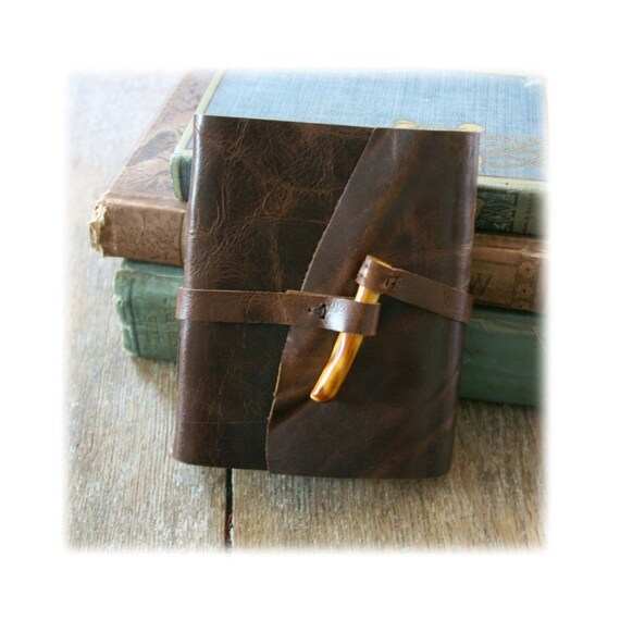 Leather Journal / Sketch / Guestbook . Handmade Handbound . dark brown & handmade ceramic yellow peg (320 pgs)