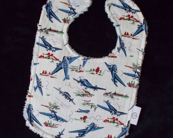 Retro Airplanes and Chenille Boutique Bib