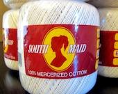 Lot of 13 South Maid Cotton Crochet Thread, Color 429 Ecru, 350 yards