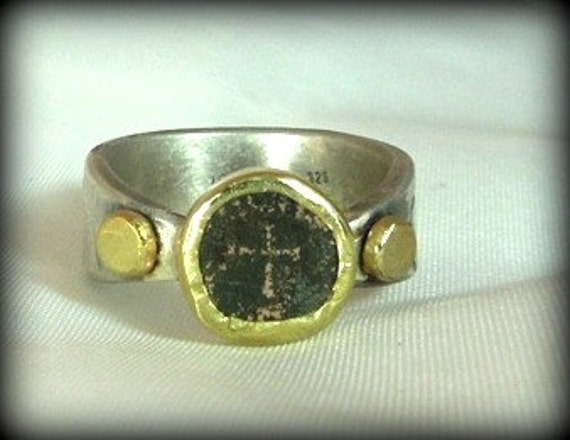In The Beginning ring, ancient  coin, sterling silver and 18 karat gold ring