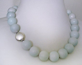 Powder Blush Blue Jade Bold Statement Sterling Silver Necklace