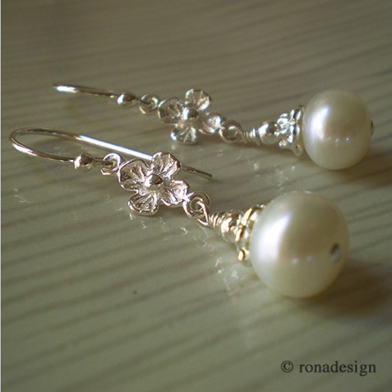 White Freshwater Pearl floral Sterling Silver drop Classic earrings