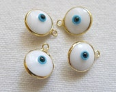 4 WHITE Glass Eye Charms, Gold Plated