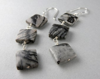 Retro Squares Zebra Black Gray and white Stone Earrings with Free USA Shipping