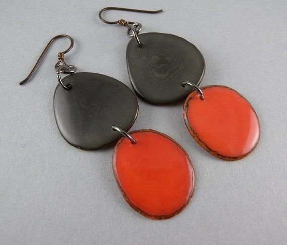 Smoke Gray and Orange Tagua Nut Eco Friendly Earrings with Free Shipping