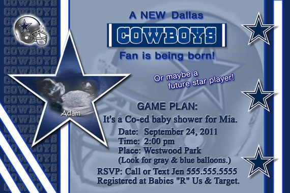 Dallas Cowboys Baby Shower Invitations for your inspiration to make invitation template look beautiful