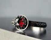 Garnet ring| Sterling silver| red faceted gemstone| January birthstone| Medieval style