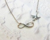 Silver Necklace - Infinity - Silver INFINITY NECKLACE - Love Necklace - by BirdzNbeez - Wedding Birthday Anniversary Friendship Gift