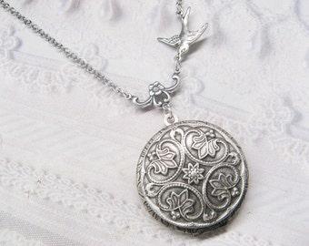 Silver Locket Necklace - Silver Victoriana Romantic WEDDING Locket - Jewelry by BirdzNbeez - Wedding Birthday Bridesmaids Gift