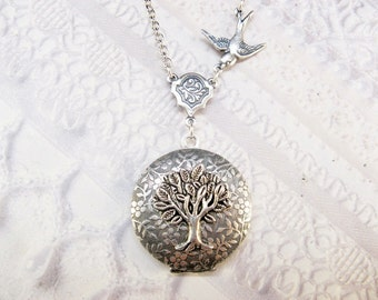 Silver Locket Necklace - The ORIGINAL Silver TREE Of LIFE Locket - Jewelry by BirdzNbeez - Mother's Day Wedding Birthday Bridesmaids Gift