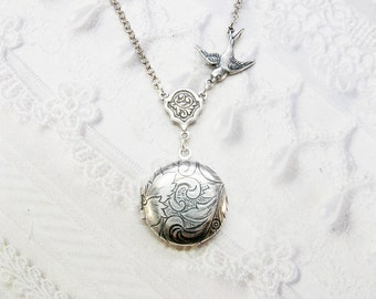 Silver Locket Necklace - Little BIRD LOCKET - Miniature Locket - Baby Locket - Jewelry by BirdzNbeez - Wedding Birthday Bridesmaids Gift