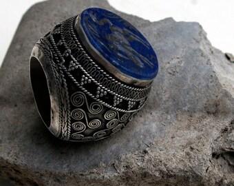 Vintage Tribal Ring- Afghanistan Lapis Lazuli Antelope, Size 7.5