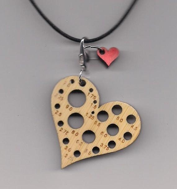 Heart Bamboolery Reversible Knitting Needle Gauge Pendant with Removable Stitchmarker Charm