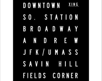 Boston T Red Line Branch Subway Art Print 11.75x36