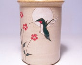 Hummingbird and Flowers Pottery Utensil Holder and Vase Limited Series 83 (narrow)