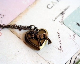 moose. locket necklace. brass ox color