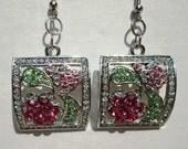 Earrings, Crystal,  Antique Looking, Wedding Earrings,  Light and Dark Pink Flowers, Green Leaves, Looks Vintage, Great Gift Earrings