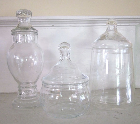 Vintage Apothecary Jars -  Candy Buffet - set of 3