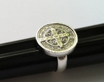 Men's St. Benedict Ring Religious Medal Cross Sterling Silver