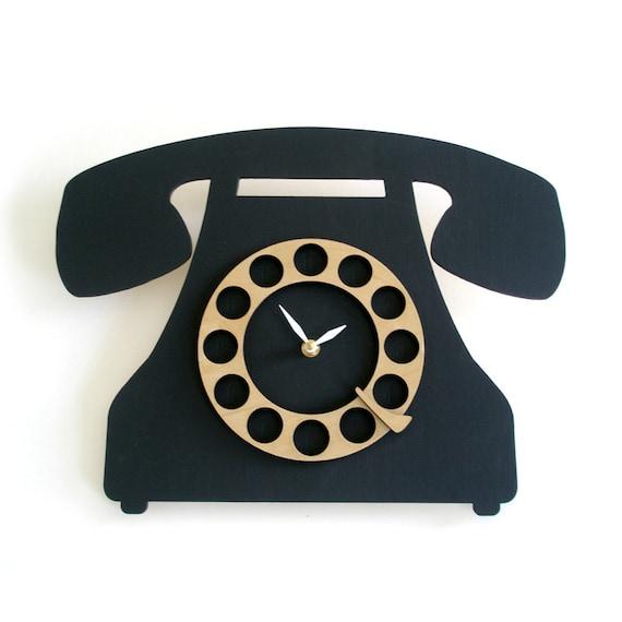 Modern wall clock - Old school telephone black and wood