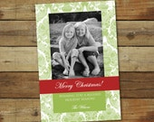 Formal Christmas card, damask holiday card, red and green, traditional Christmas photo card, personalized custom card, printed or printable