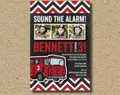Fire truck birthday party invitation, photo card