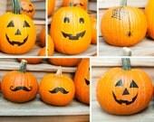 Halloween Pumpkin Stickers, pumpkin decals, Pumpkin face stickers, jack o lantern decals, no carve pumpkin Decor for front porch decor