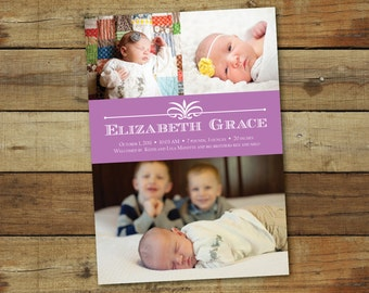 birth announcement photo card, simple and classic, customizable colors, printable birth announcement