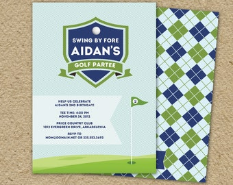 Golf birthday party invitation for a golf themed birthday party - country club argyle
