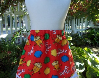 MY Carrie Girl's A-Line Skirt made with Organic Cotton Lorax Fabric