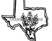 Jam'n Bluebonnet Texas (small) cling mounted rubber stamp