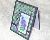 Sympathy Card, Green and Purple, Houndstooth pattern with lilac flower, So sorry for your loss, Hand watercolored