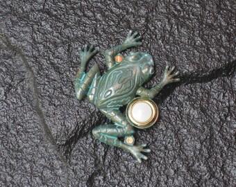 Frog Doorbell in Verdigris