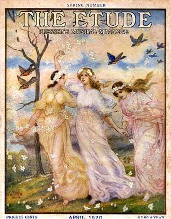 Art Print on SILK - Vintage Magazine Cover 'The Etude' 3 lovely ladies w birds - MUSIC