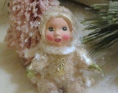 Vintage Style Snowbaby Figurine/Ornament Kneeling with Ivory Chenille Scarf and Antique Mica Handmade Collectible