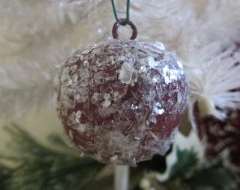 Vintage Style Spun Cotton Plum Ornament Burgundy Red  Small