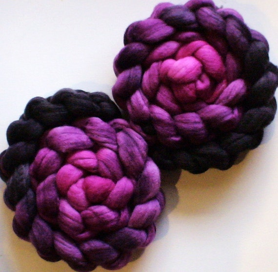 Hand Dyed 70/30 Polwarth silk roving for spinning or felting 3.9ozs Back to Black