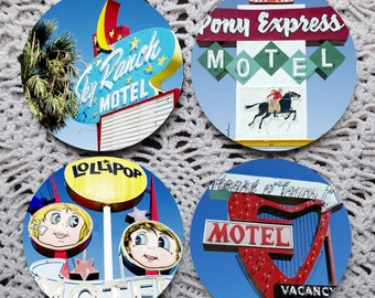 Signs, Signs, Everywhere are Signs -- Route 66 Motel Signs Mousepad Coaster Set