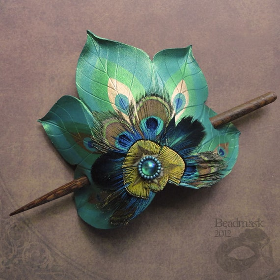 Peacock Feather Fan Large Leather Hair Slide With Featherwork And Beaded Cabochon
