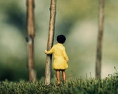 Modern photography - woods diorama - girl in forest trees art print - miniature art - Yellow