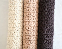 Crochet dishcloths Latte Combo, Set of 3, Brown, Beige and off white, crochet brown washcloth