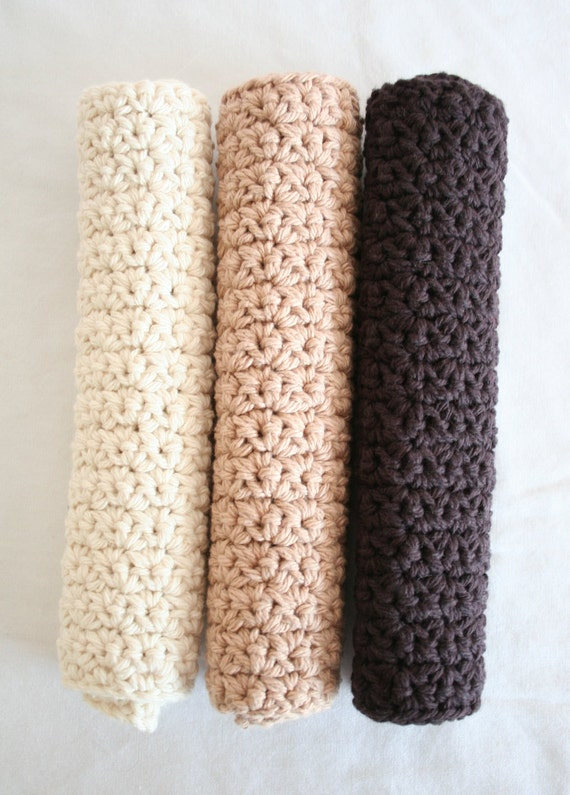Crochet dishcloths Latte Combo - Set of 3 - Brown, Beige and off white, crochet washcloth